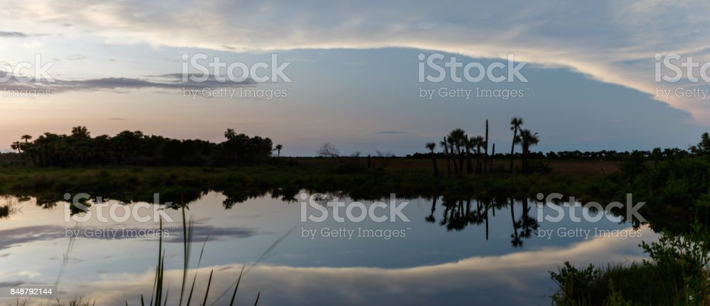 Sunset at Merritt Island National Wildlife Refuge, Florida stock photo