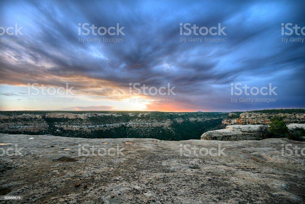 Sunset at Mesa Verde stock photo