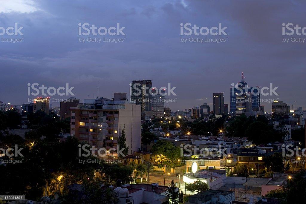 sunset at mexico city royalty-free stock photo