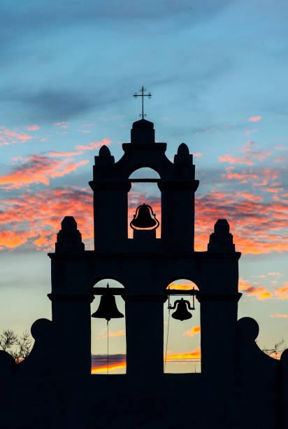 Sunset at Mission SanJuan Capistrano stock photo