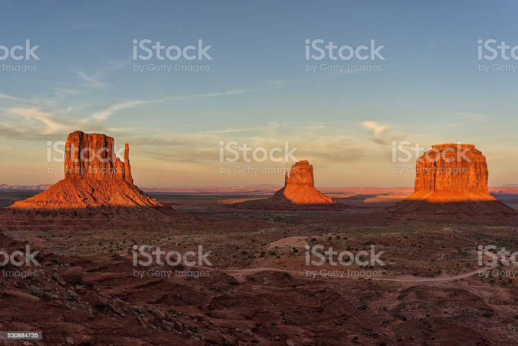 Sunset at Monument Valley stock photo