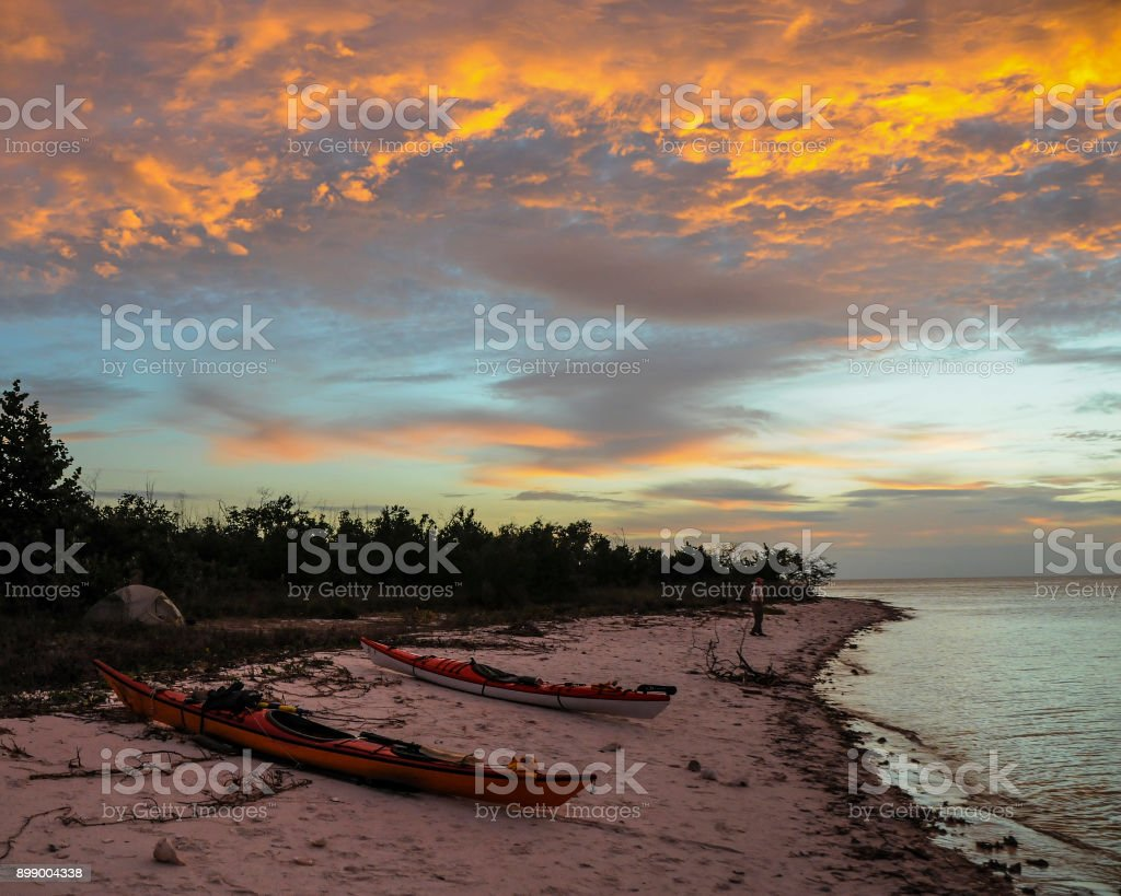 Sunset at Mormon Key, Everglades National Park Back Country Campsite stock photo