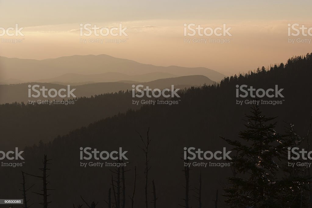 Sunset at Morton's Overlook Great Smoky Mountains National Park stock photo