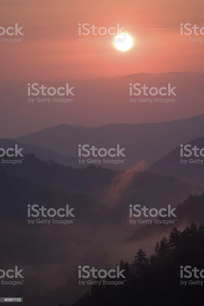 Sunset at Morton's Overlook stock photo