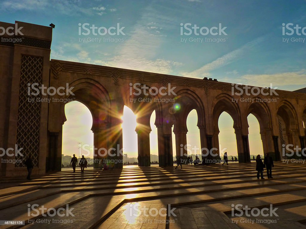 Sunset at Mosque Hassan II Casablanca Morocco stock photo