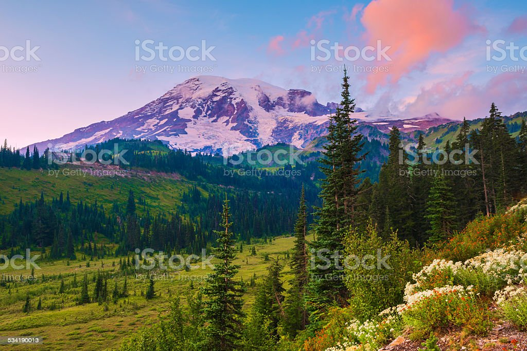 sunset at mount rainier stock photo