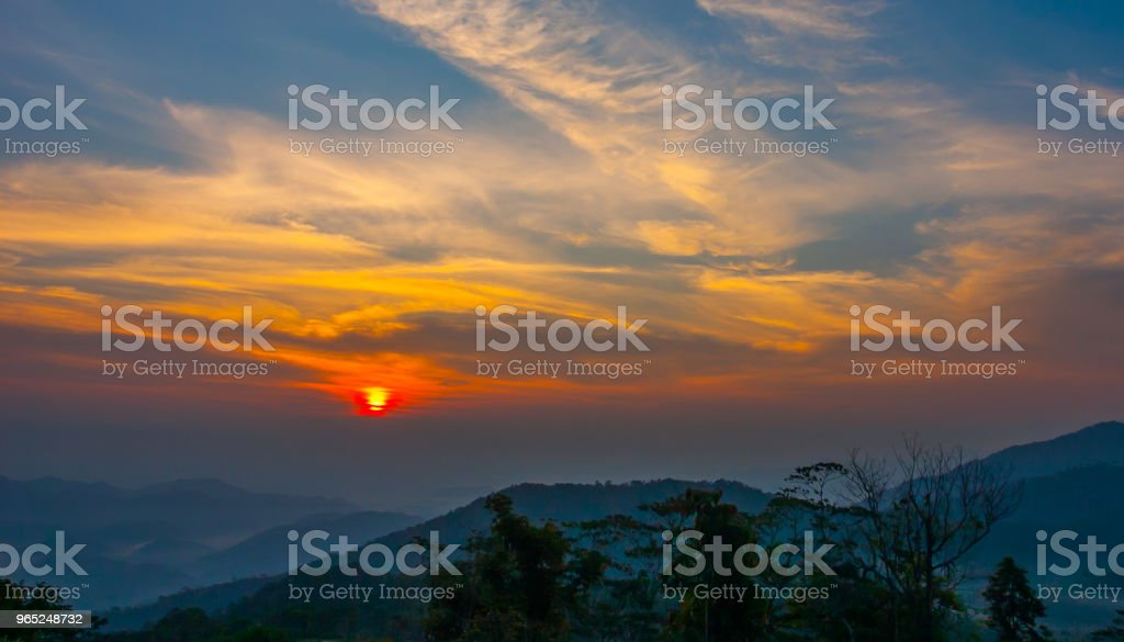 Sunset at mountain in Thailand royalty-free stock photo