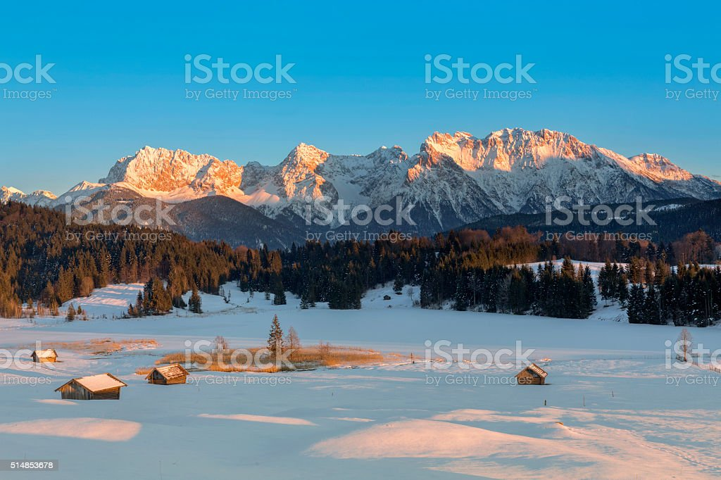 Sunset at mountain lake in Alps - Geroldssee stock photo