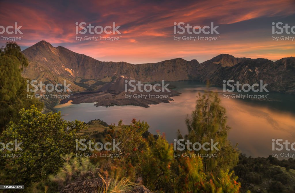 Sunset at Mt Rinjani royalty-free stock photo