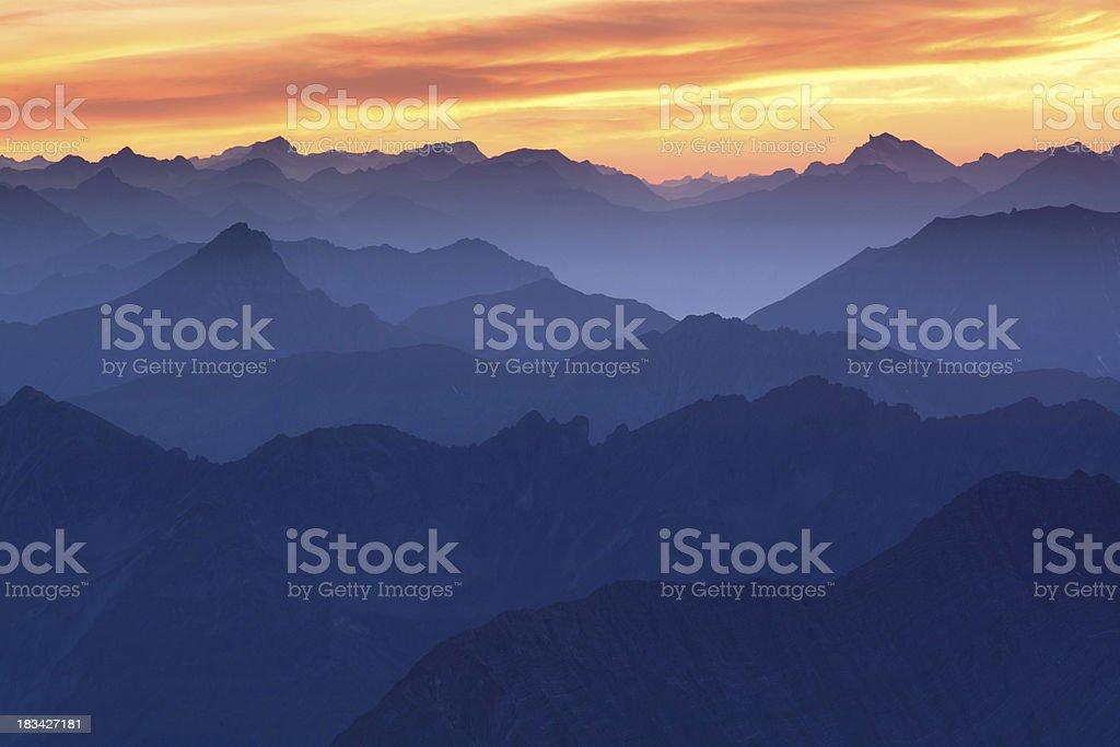 sunset at mt. zugspitz stock photo