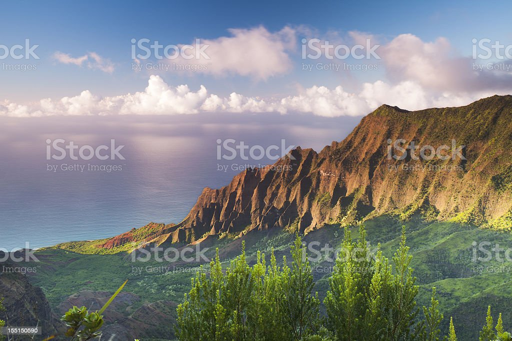 Sunset at Na Pali Coast stock photo