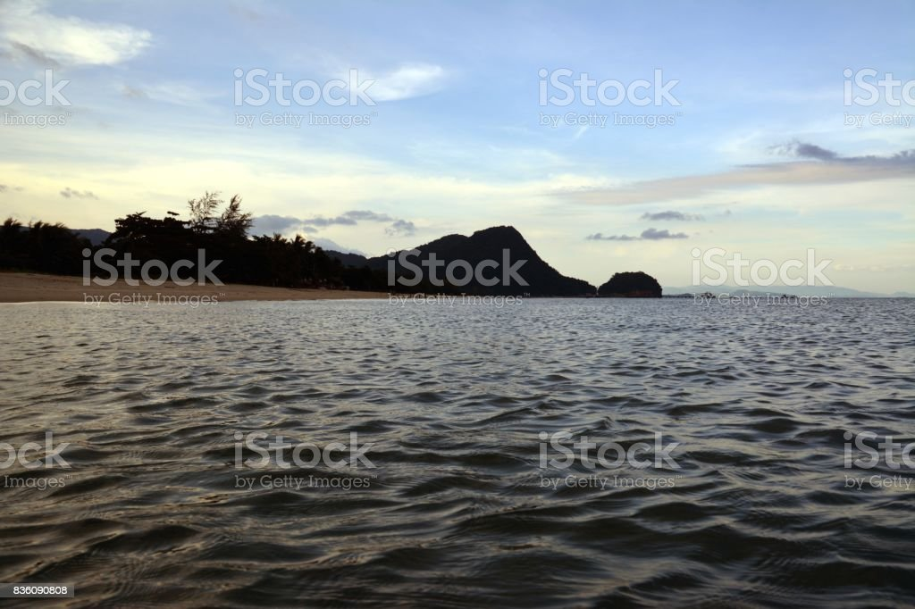 Sunset at Nadan beach, Khanom, Thailand stock photo