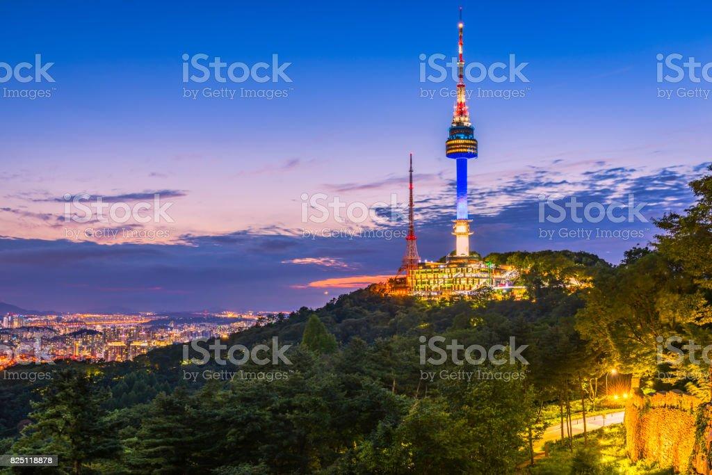 Sunset at Namsan Tower in Seoul,South Korea. stock photo