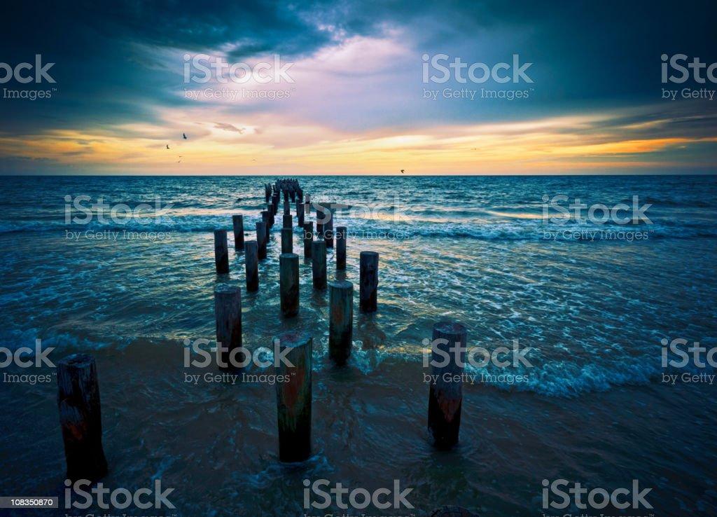 sunset at naples beach florida stock photo