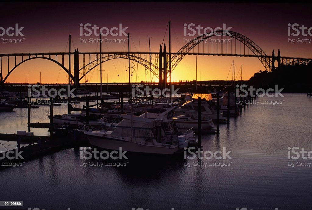 Sunset at Newport, OR royalty-free stock photo