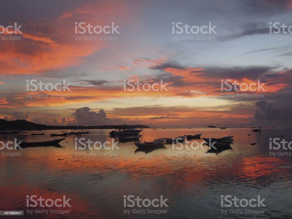 Sunset at Nusa Lembongan island near Bali, Indonesia royalty-free stock photo