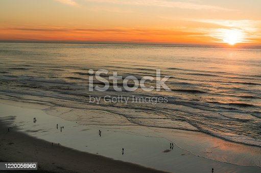 view from Sutro Heights, Sunset at Ocean Beach San Francisco California.