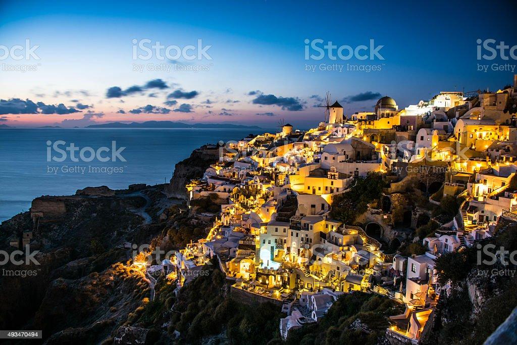 Sunset at Oia, Santorini stock photo