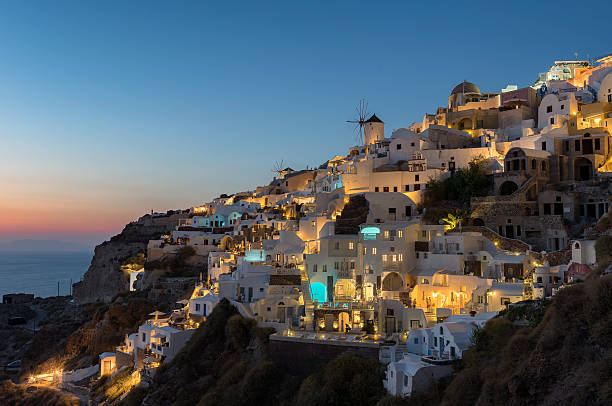 Sunset at Oia , Santorini stock photo