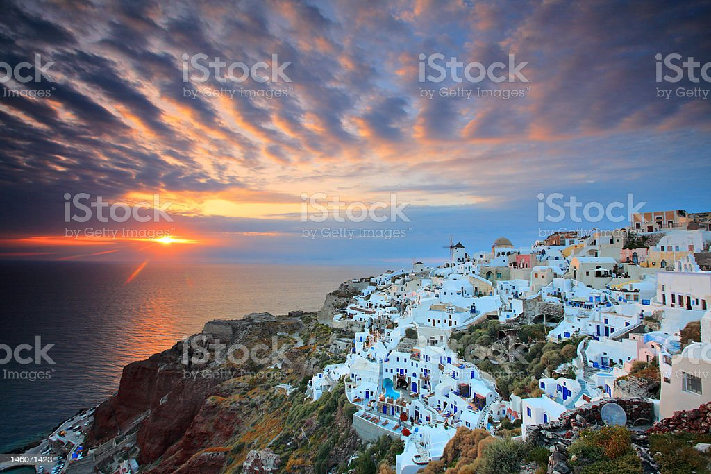Sunset at Oia village on Santorini island royalty-free stock photo