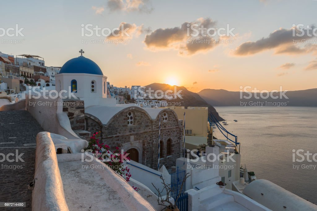 Sunset at Oia village stock photo