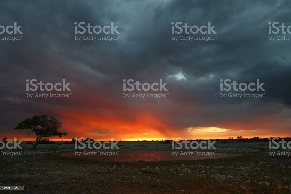 Sunset at Okaukuejo in Etosha National Park stock photo