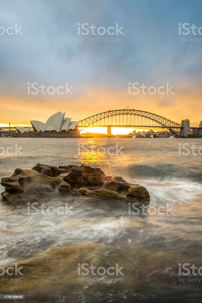 Sunset at Opera house and Harbour bridge, Sydney, Australia. stock photo