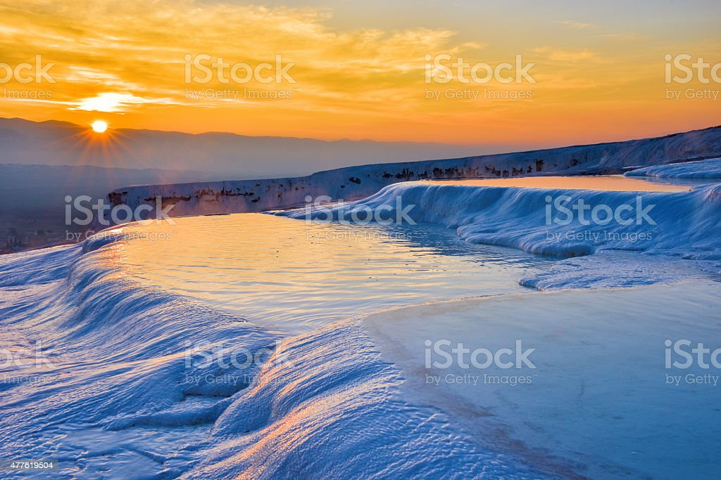 Sunset at Pamukkale (Turkey) stock photo