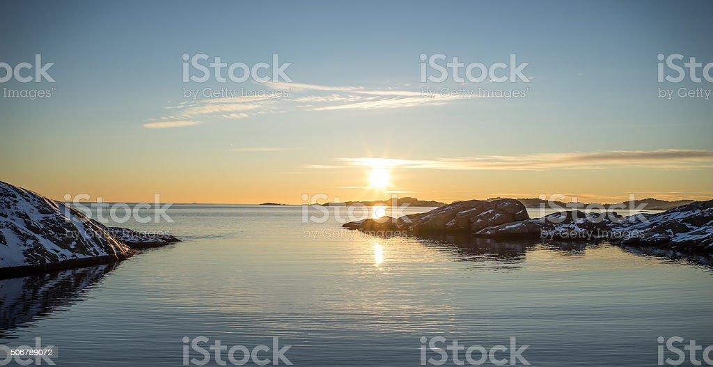 Sunset at Paradise Bay stock photo