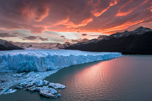 sunset at perito moreno glacier - argentina stock pictures, royalty-free photos & images