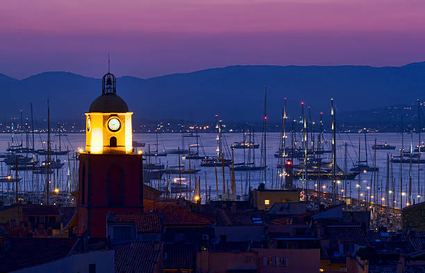 Sunset at pier at Saint Tropez night scene of Saint Tropez city, French Riviera, Mediterranean Sea var stock pictures, royalty-free photos & images
