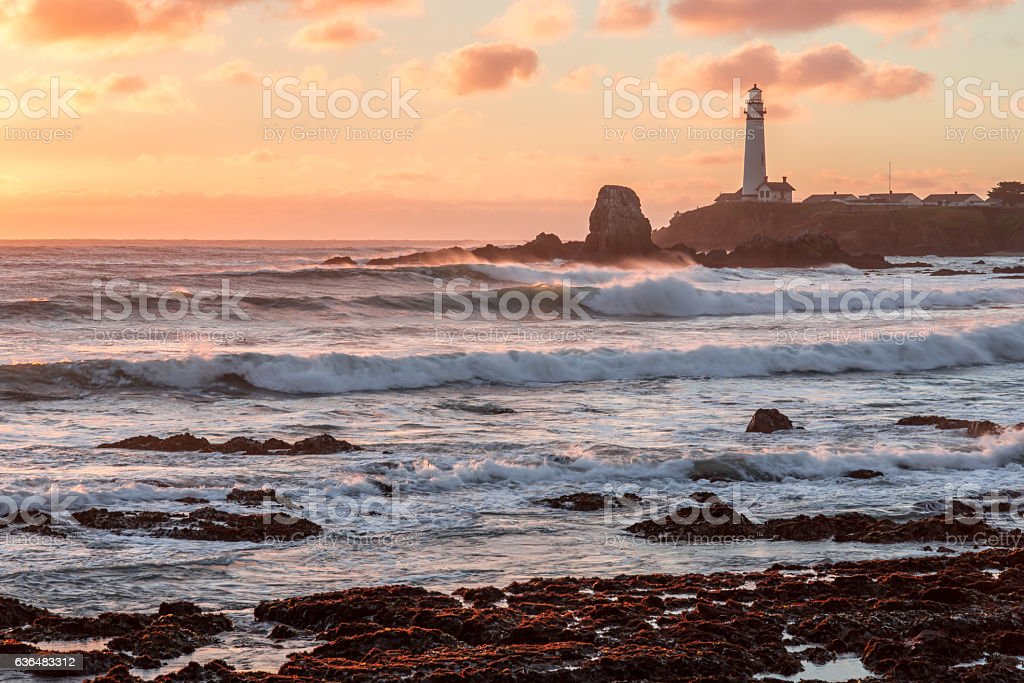 Sunset at Pigeon Point Lighthouse stock photo