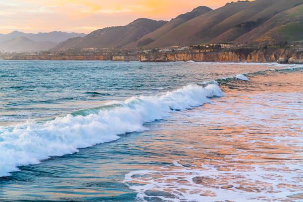 Sunset at Pismo Beach, California Coastline stock photo