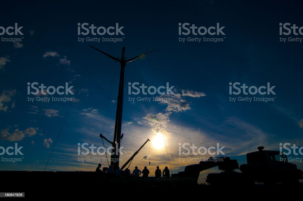 Sunset At Plant Eolica royalty-free stock photo