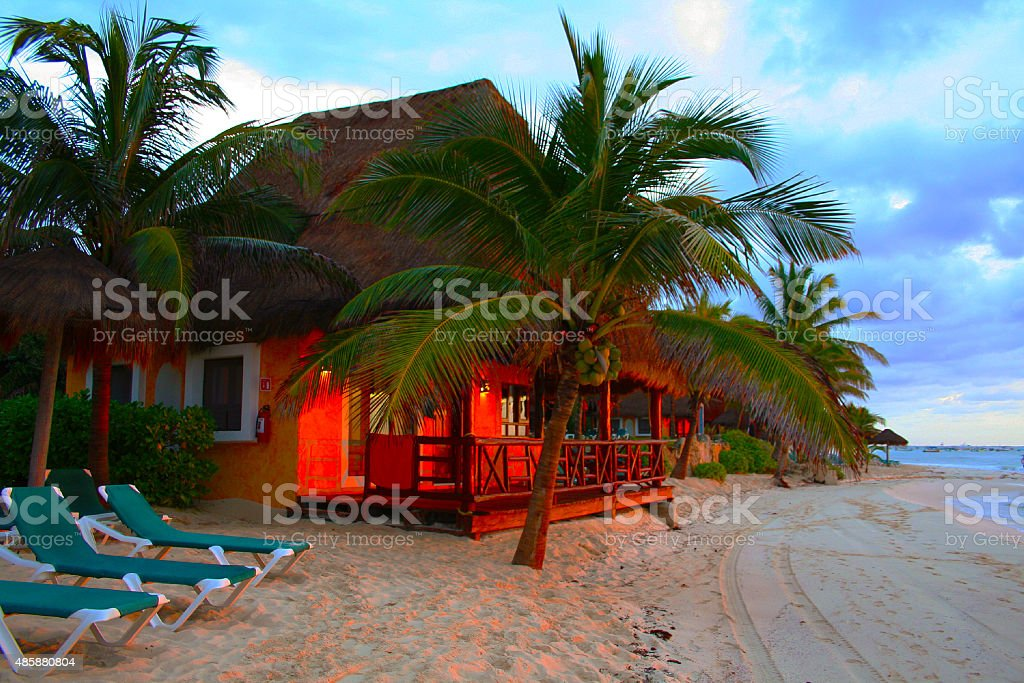 Sunset at Playa del Carmen Beach, South of Cancun, MEXICO stock photo