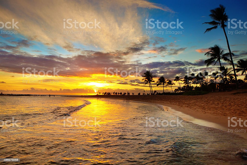 Sunset at Poipu Beach Kauai, Hawaii stock photo