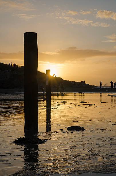 Coucher de soleil sur la plage de polzeath, Cornouailles, Royaume-Uni - Photo