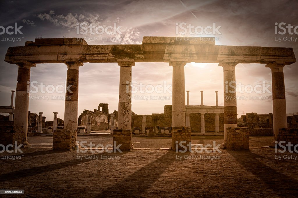 Sunset at Pompei stock photo
