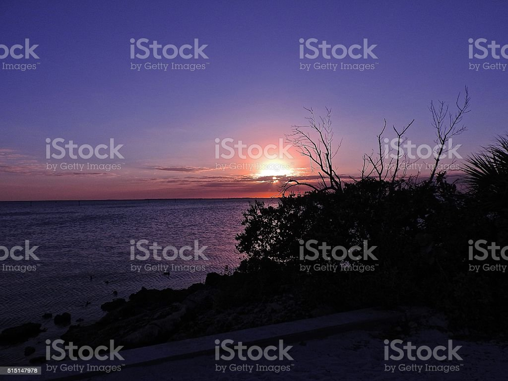 Sunset at Ponce DeLeon Park stock photo