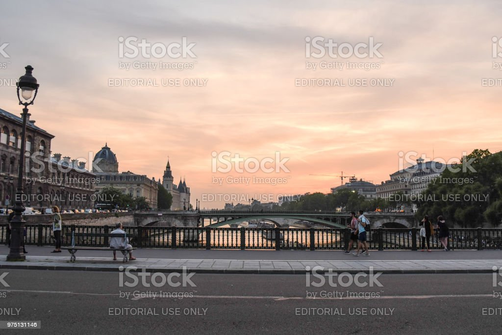 Sunset at Pont d'Arcole in Paris stock photo