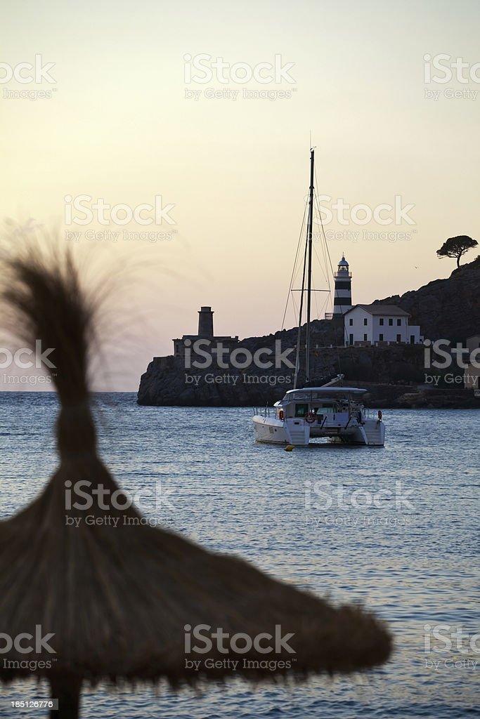 Sunset at Port de Soller stock photo