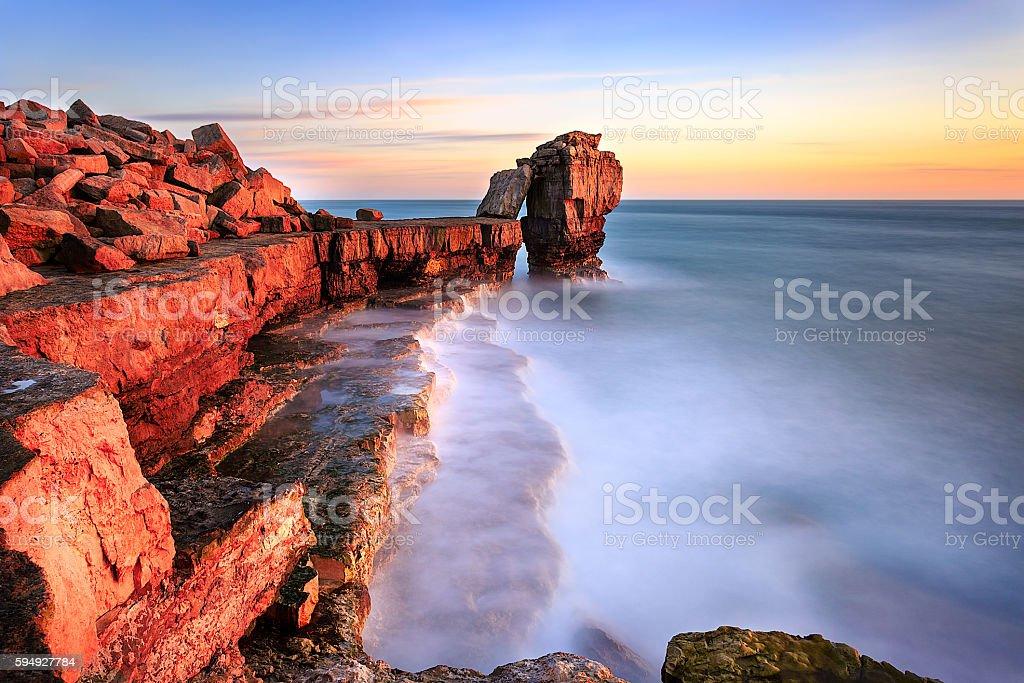 Sunset at Portland bill, Dorset stock photo