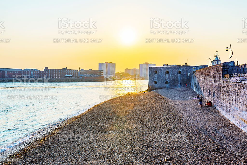 Sunset at Portsmouth seafront stock photo