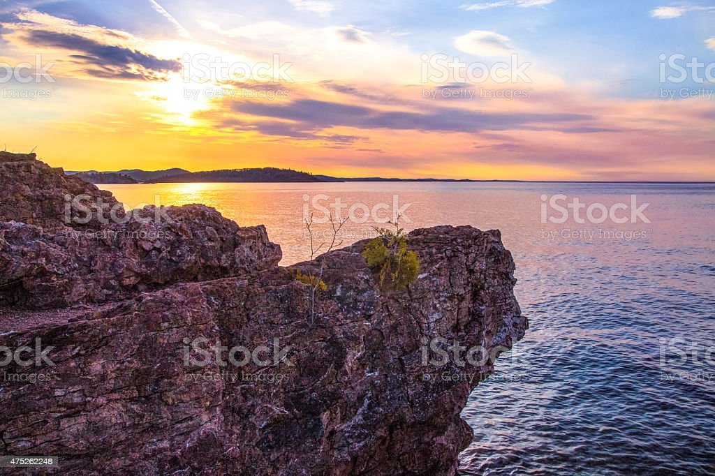 Sunset At Presque Isle Park In Marquette Michigan stock photo