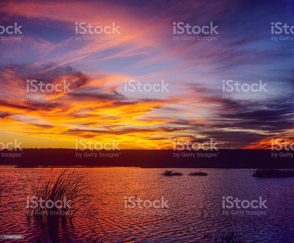 Sunset at Pyramid Lake, Nevada stock photo