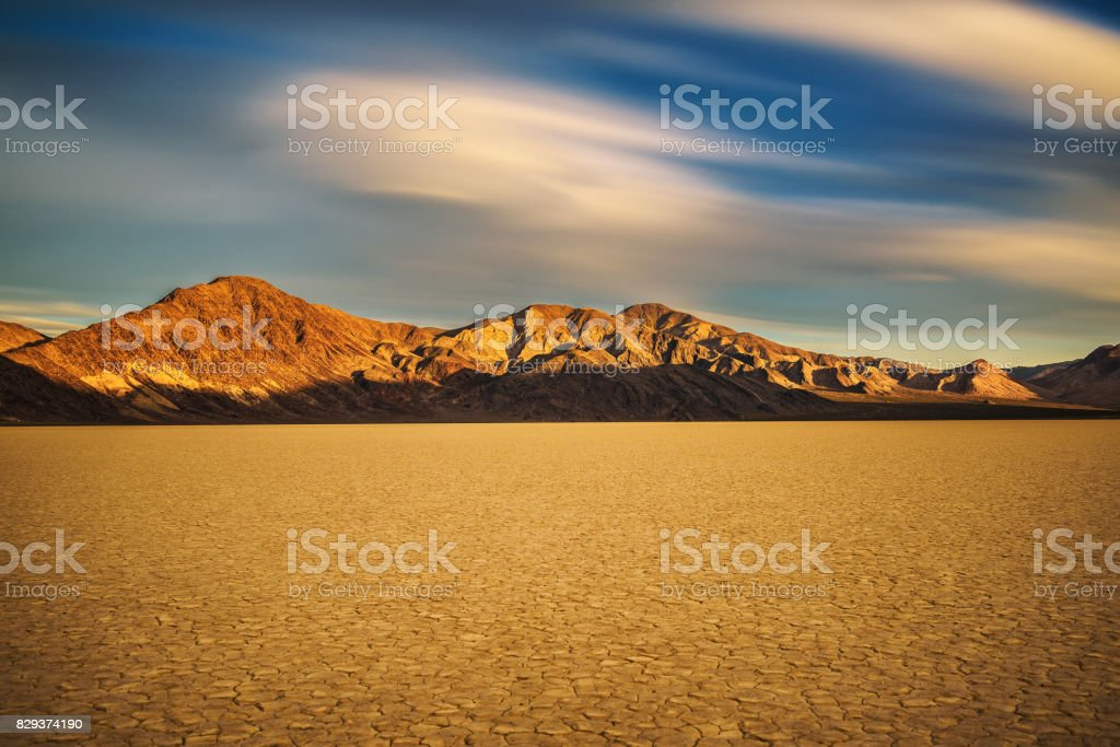 Sunset at Racetrack Playa  in Death Valley National Park stock photo