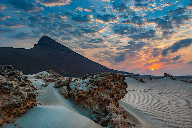 sunset at ras siyan - horn of africa stock photos and pictures