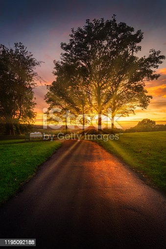 Sunset at Ravenhill park near the Fforestfach area of Swansea, South Wales, UK.