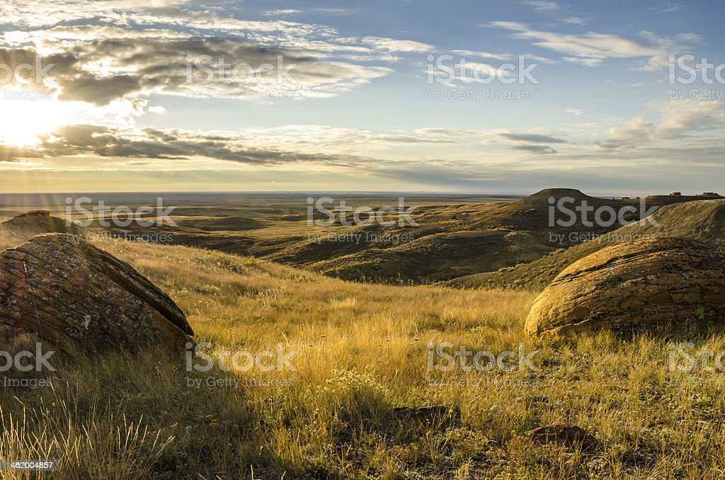 Sunset at Red Rock Coulee stock photo