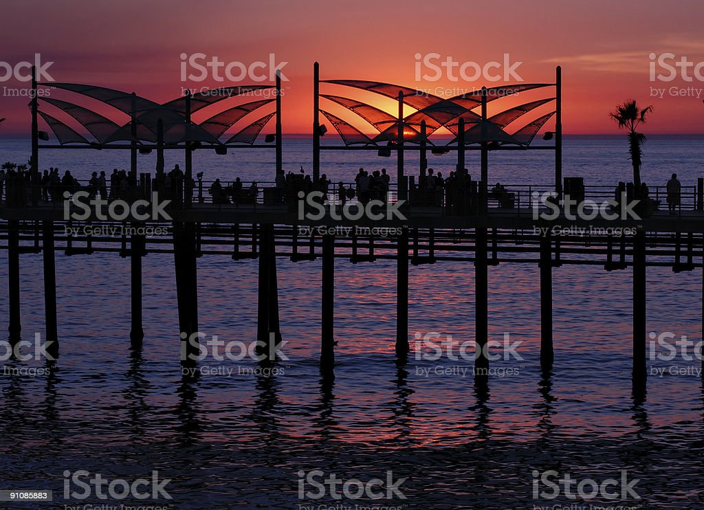 Sunset at Redondo Beach Pier stock photo